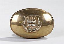 Brass snuff box of oval form bearing the crest of the Army Ordinance Corps