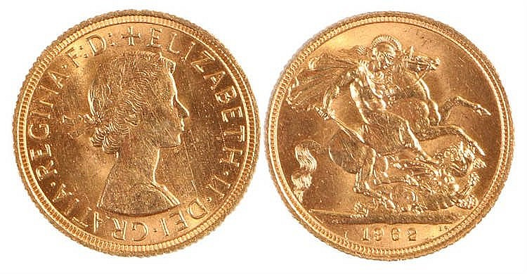 Elizabeth II Sovereign, 1962, St George and the Dragon - Stock Ref:5216-1