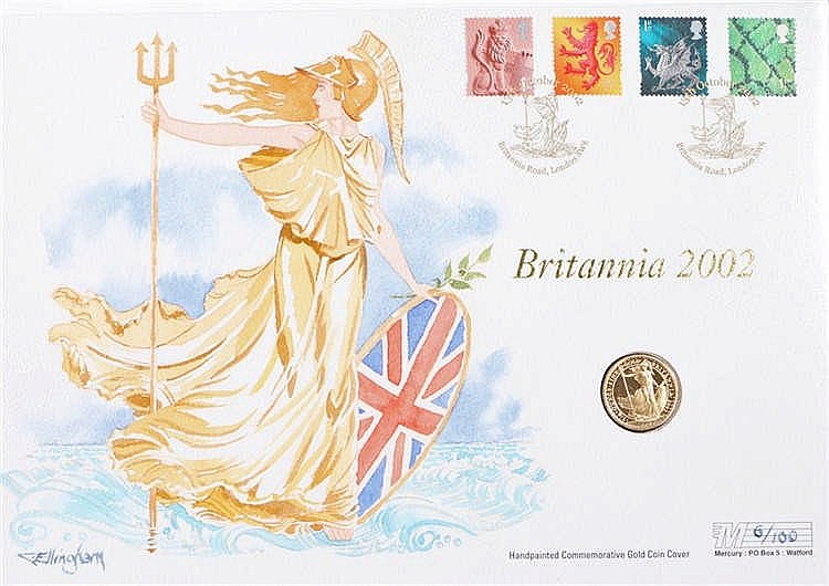 Elizabeth II Sovereign 2002 depicting Britannia together with a handpainted