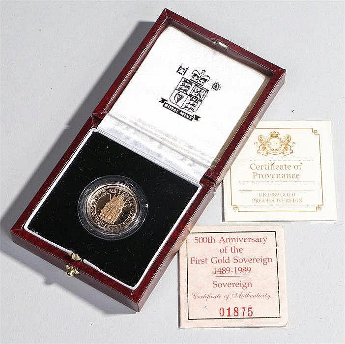 Elizabeth II Sovereign, 1989, 500th Anniversary, cased and capsule - Stock