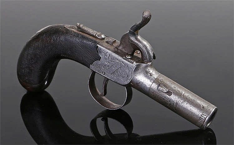 19th century percussion box lock pocket pistol by Baker of London - Stock R
