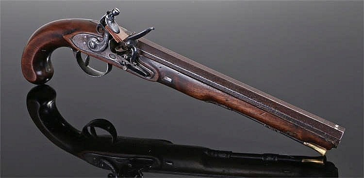 Circa 1800 flintlock pistol with polished steel fittings, the lock has indi