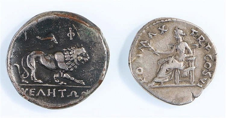 Vespasian silver Denarius, Salus seated left, holding patera, together with