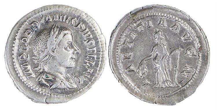 Gordian III Roman Denarius, 241-3, Lactitia, RIC 113 - Stock Ref:3446-27
