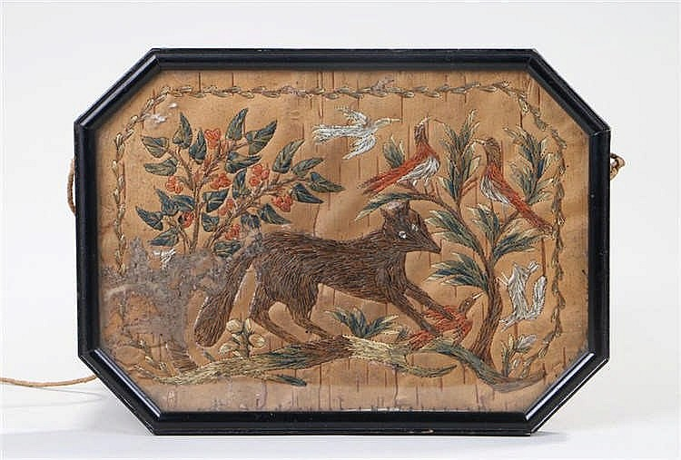 Micmac Native American birch bark picture, of a fox below trees with birds,