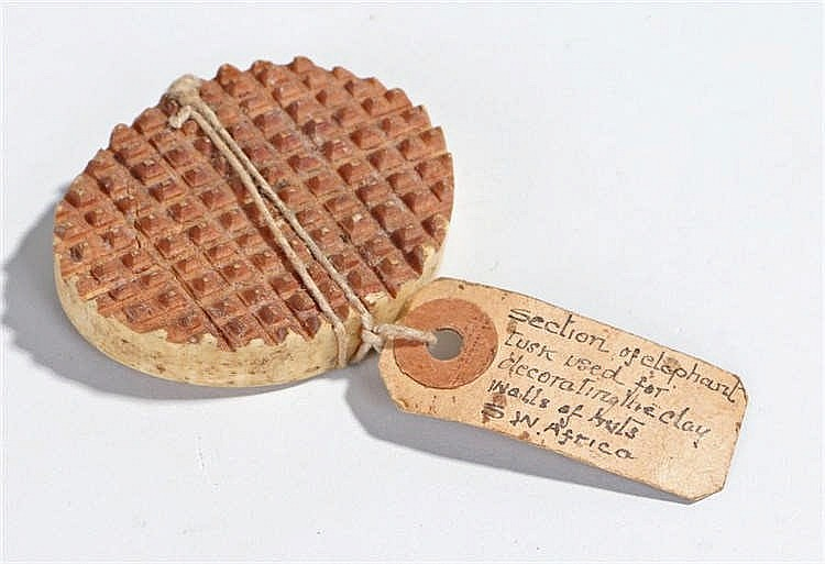 Early 20th century oval ivory tool, of hobnail cut to one side. A label att