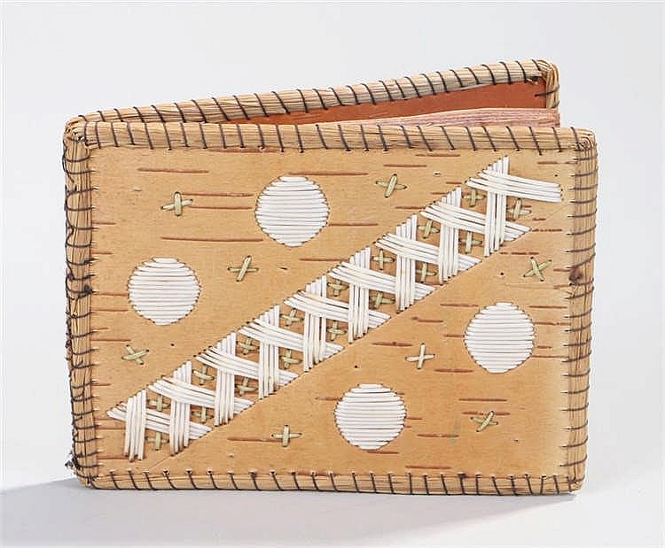 Micmac Native American bark wallet, with a criss-cross and circular design,