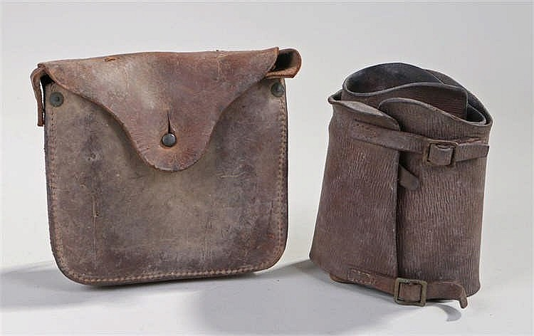 A pair of World War Two British Home Guard leather gaiters, together with a