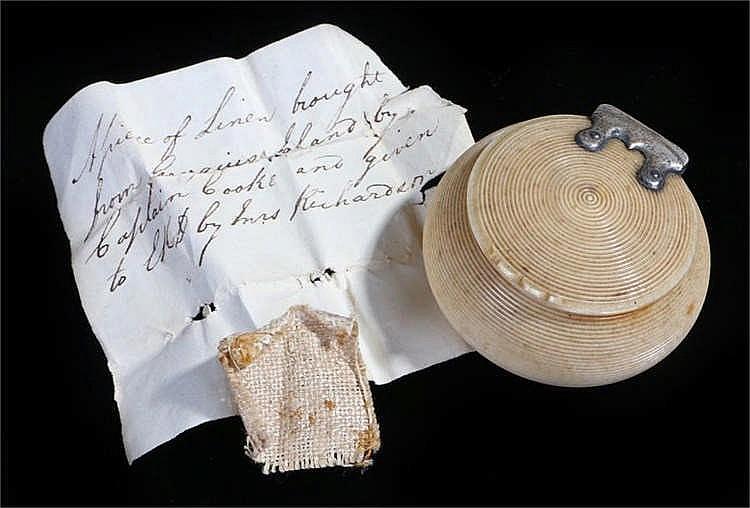 Captain James Cook interest a slip of hand written paper with a piece of li