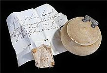 Captain James Cook interest a slip of hand written paper with a piece of li
