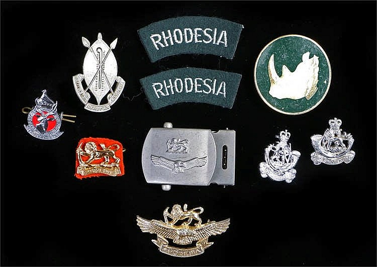 1970s Rhodesian armed forces badges, including; Rhodesian Forces cap badge