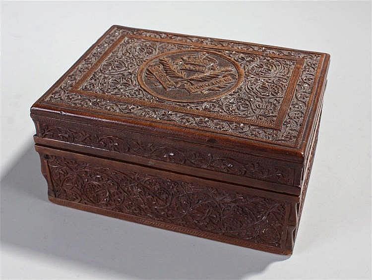 Sutherland Highlanders, the carved cigar box with the Sutherland Highlander