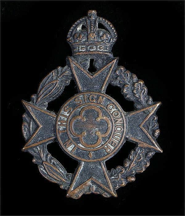 World War Two British Army Chaplains cap badge in blackened bronze, two bla