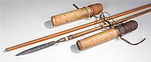 Indonesian blowpipe with incised geometric decoration, two bamboo quivers a