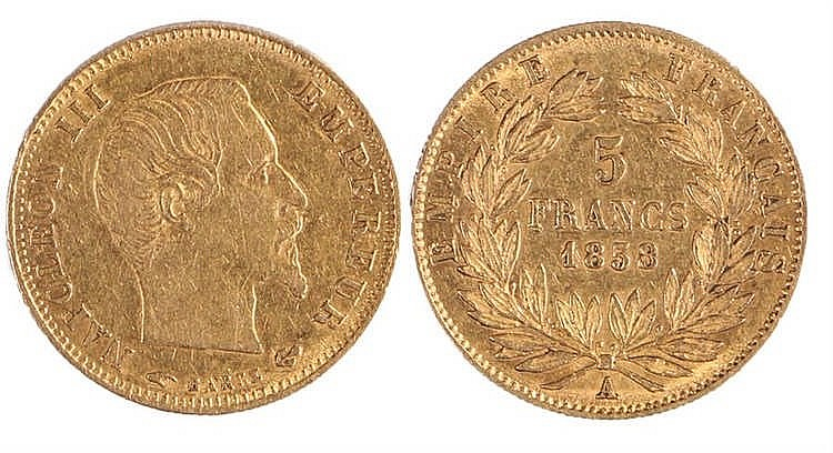 France, Napoleon III 5 Francs, 1858 - Stock Ref:2315-65