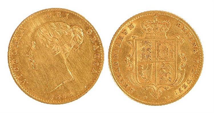 Victoria Half Sovereign, 1855, Shield back - Stock Ref:2315-40