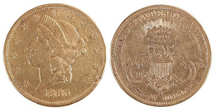 USA gold Twenty Dollars, 1883, San Francisco mint - Stock Ref:1972-28