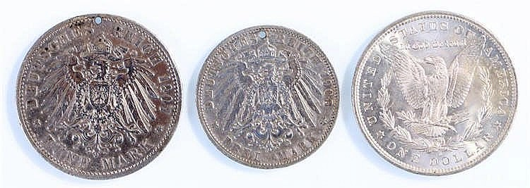 Coins, to include an 1885 Dollar, Wilhelm II Funf Mark and Wilhelm II Drei