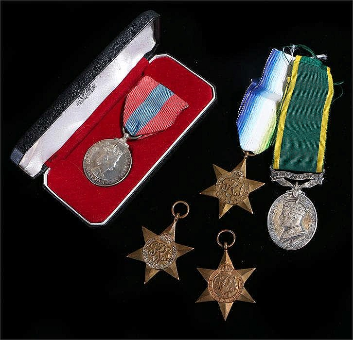 Medal group, to include France and Germany, Italy and Atlantic Stars, toget