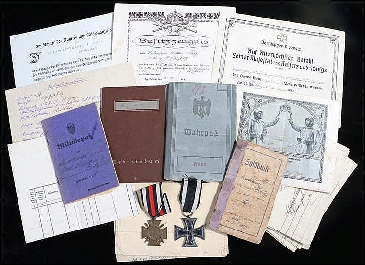 German World War One and World War Two group of documents and medals to inc