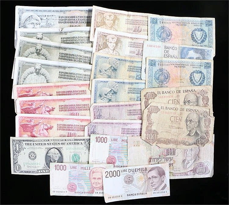 World Bankmotes, to include Israel, Spain, Italy, Yugoslavia, USA, various