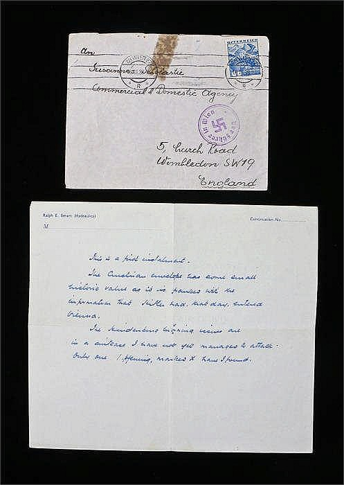 An envelope posted from Vienna on 16th March 1938 to Susanna Scholastie, Co