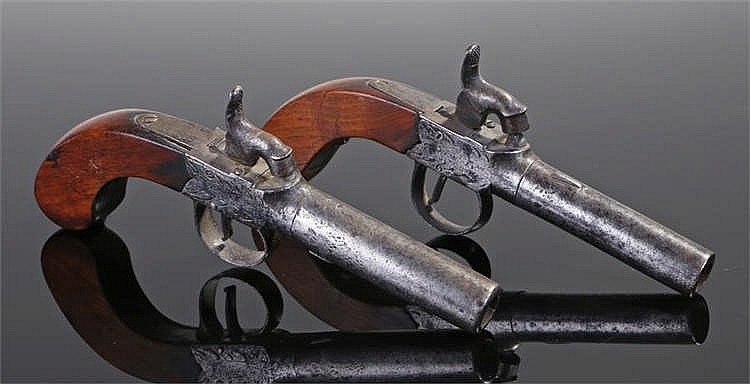 Pair of 19th Century percussion boxlock pocket pistols by Bennison of Guern