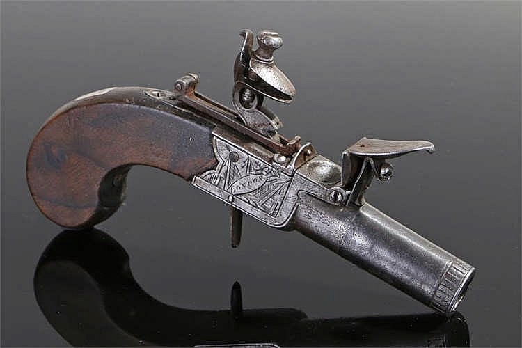 18th century flintlock box lock pocket pistol with engraved frame stamped L