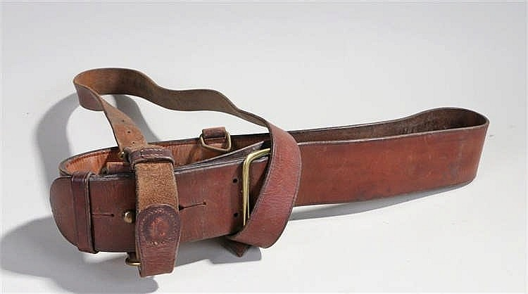 World War Two British army officers Sam Browne belt with cross strap, marke