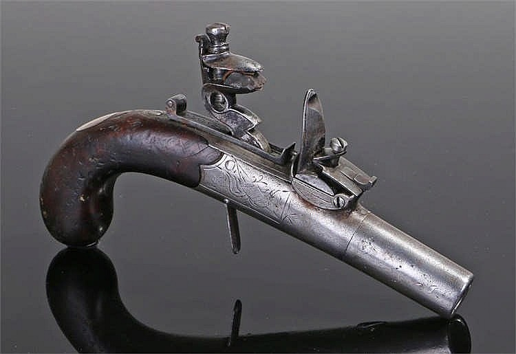 18th century flintlock pocket pistol with round barrel, box lock signed ind