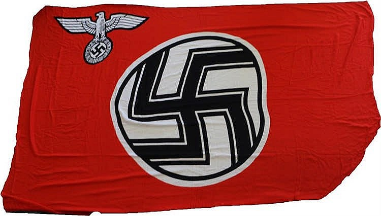 World War Two German Reichs Service Flag, by family repute ripped from the