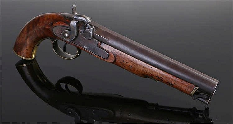 19th century percussion smooth bore lancers pattern military pistol with VR