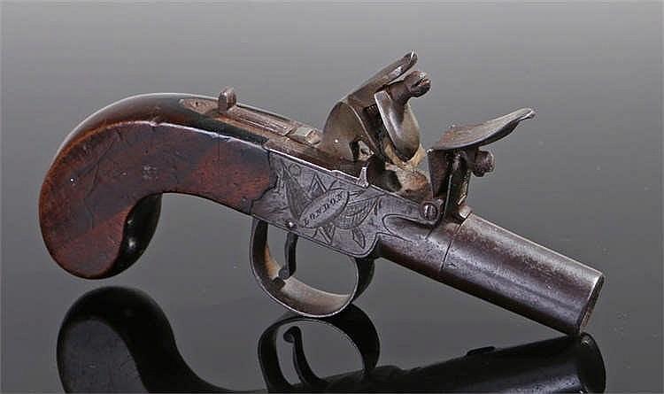 19th century flintlock box lock pocket pistol with screw barrel, sliding sa