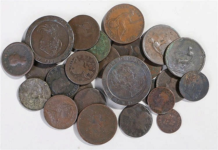 George III Cartwheel Two pence coins, together with various copper coins, (