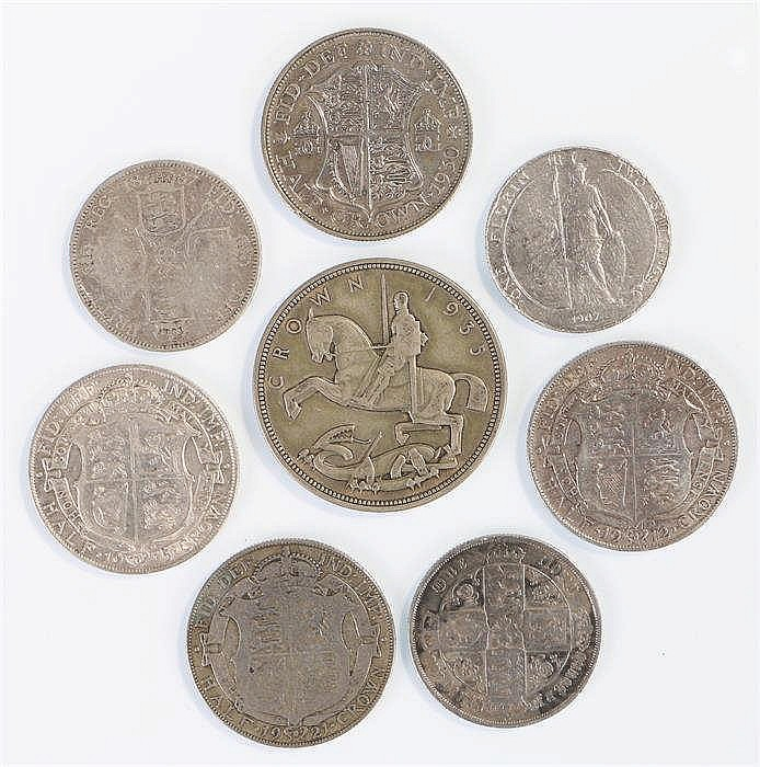 Mixed coins, to include a George V Crown, four Half Crowns, three One Flori