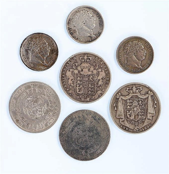 Coins, to include two George III Half Crowns, George IV Half Crowns and thr