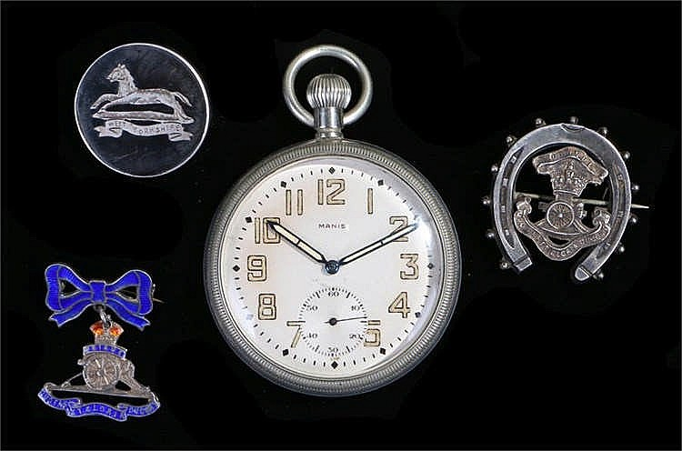 Manis military pocket watch, the signed silvered dial with luminous Arabic