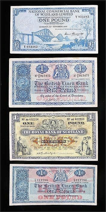 Banknotes, to include The Royal Bank of Scotland £1 Ballantyne, two The Bri
