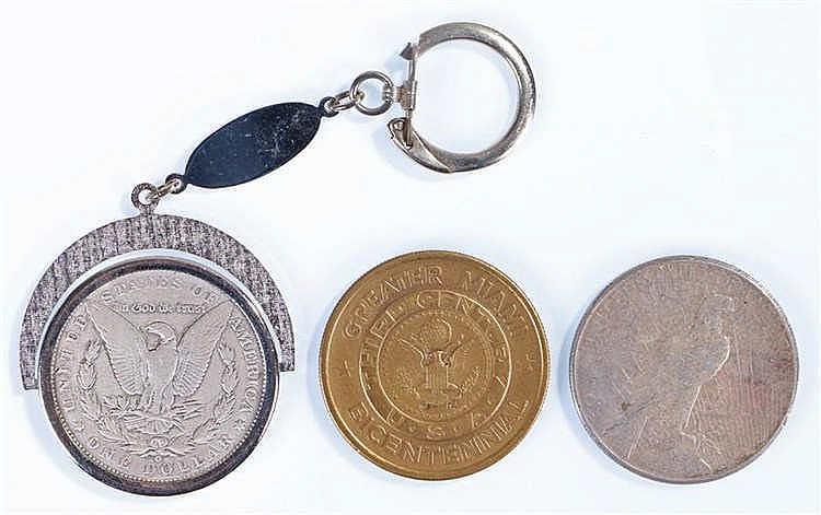 USA One Dollar, 1889 mounted, 1926 and a Miami Bicentennial medal, (3) - St