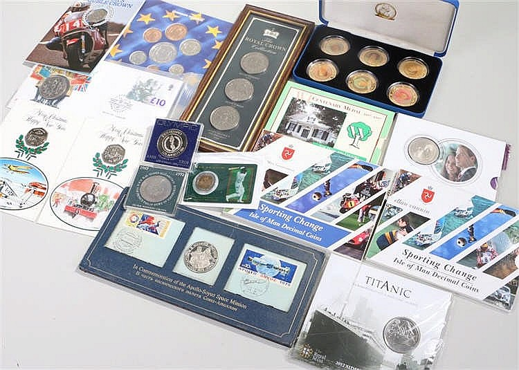 Coin sets, to include Isle of Man decimal coins, ECU mint set, WI medal, Ro