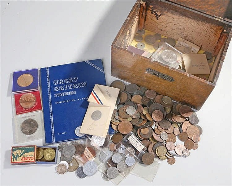 Collection of coins, to include cased coins, Jersey issues, gaming tokens,
