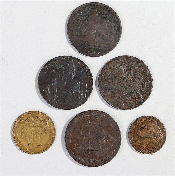 Tokens, to include Liverpool Half Penny 1791, Warwickshire 1794 Penny, John