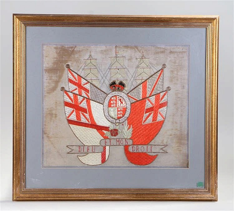 George III period silk, of a ship above four flags and a crest to the centr
