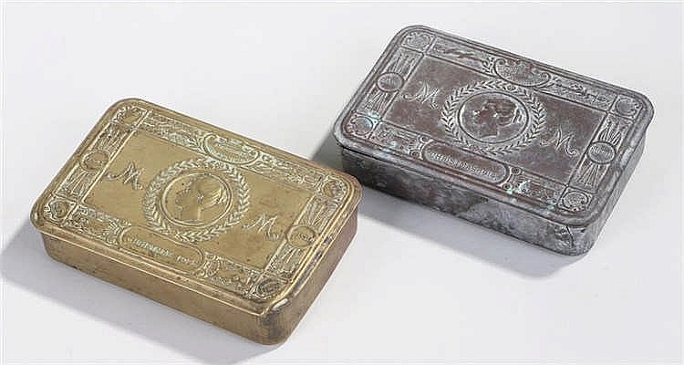 Two First World War Christmas tins, of typical form, (2) - Stock Ref:4027-7