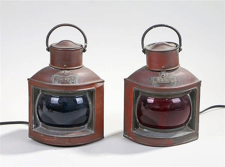 Pair copper ships lamps, labelled port and starboard with green and red gla
