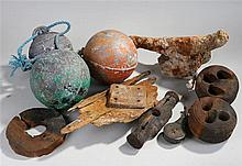 Collection of maritime objects, to include floats, section of a sunken life