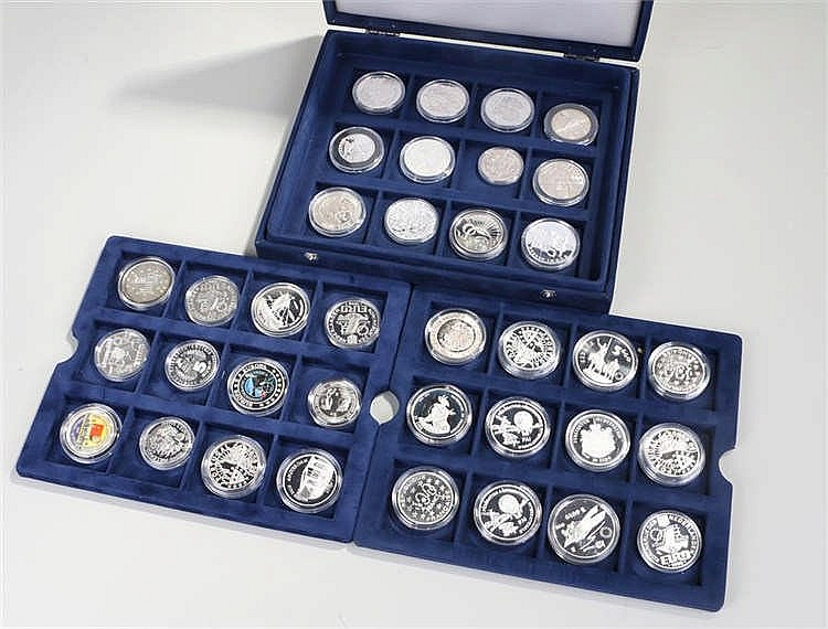 ECU silver proof collection, various countries, thirty-six coins all within