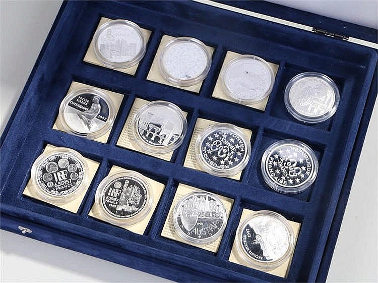 Euro silver proof collection, twelve coins within capsules, cased, (12) - S