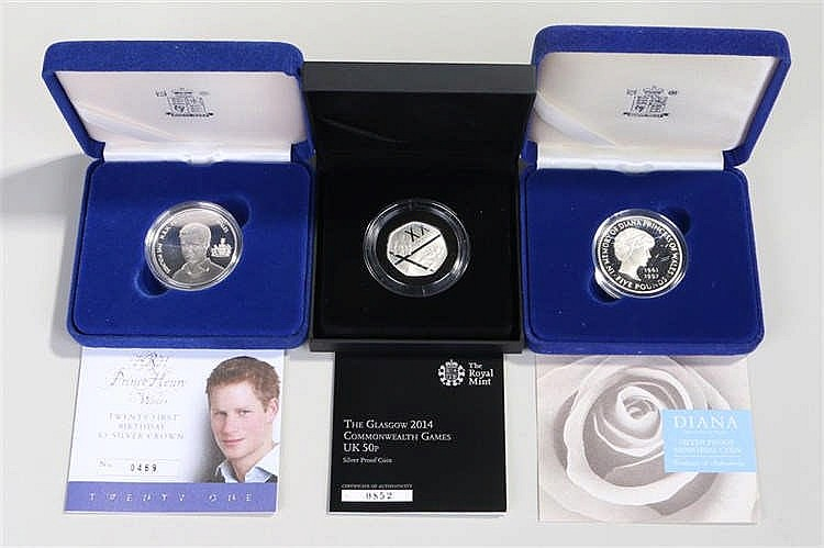 Cased proof coins, to include Diana Memorial silver £5, a Twenty First Birt