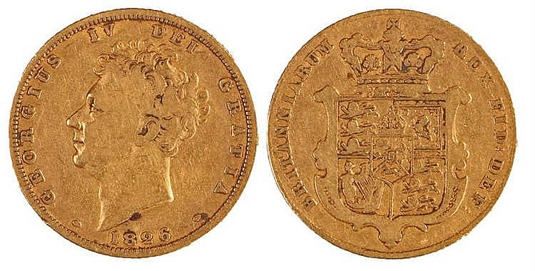 George IV Sovereign, 1826, Shield back - Stock Ref:2315-59